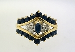 STUNNING 14K YELLOW GOLD MARQUISE SAPPHIRE & DIAMOND HALO ACCENTEND RING