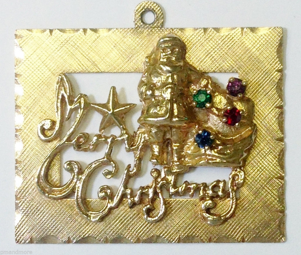 14K SOLID YELLOW GOLD SANTA MERRY CHRISTMAS CHARM PENDANT - FREE OVERNIGHT S&H