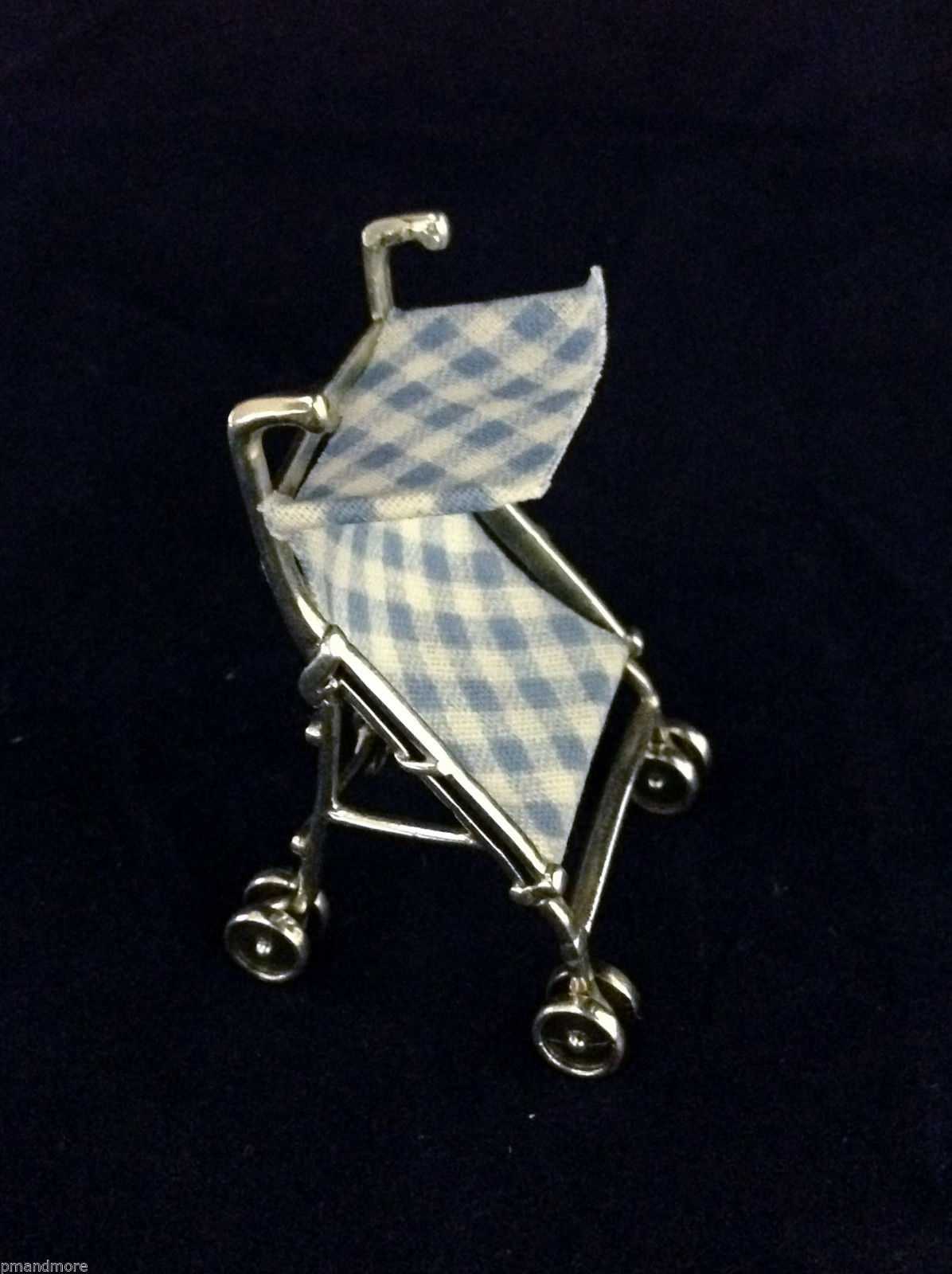 .925 SOLID Sterling Silver Decorative Art Dollhouse miniature Baby Boy Stroller