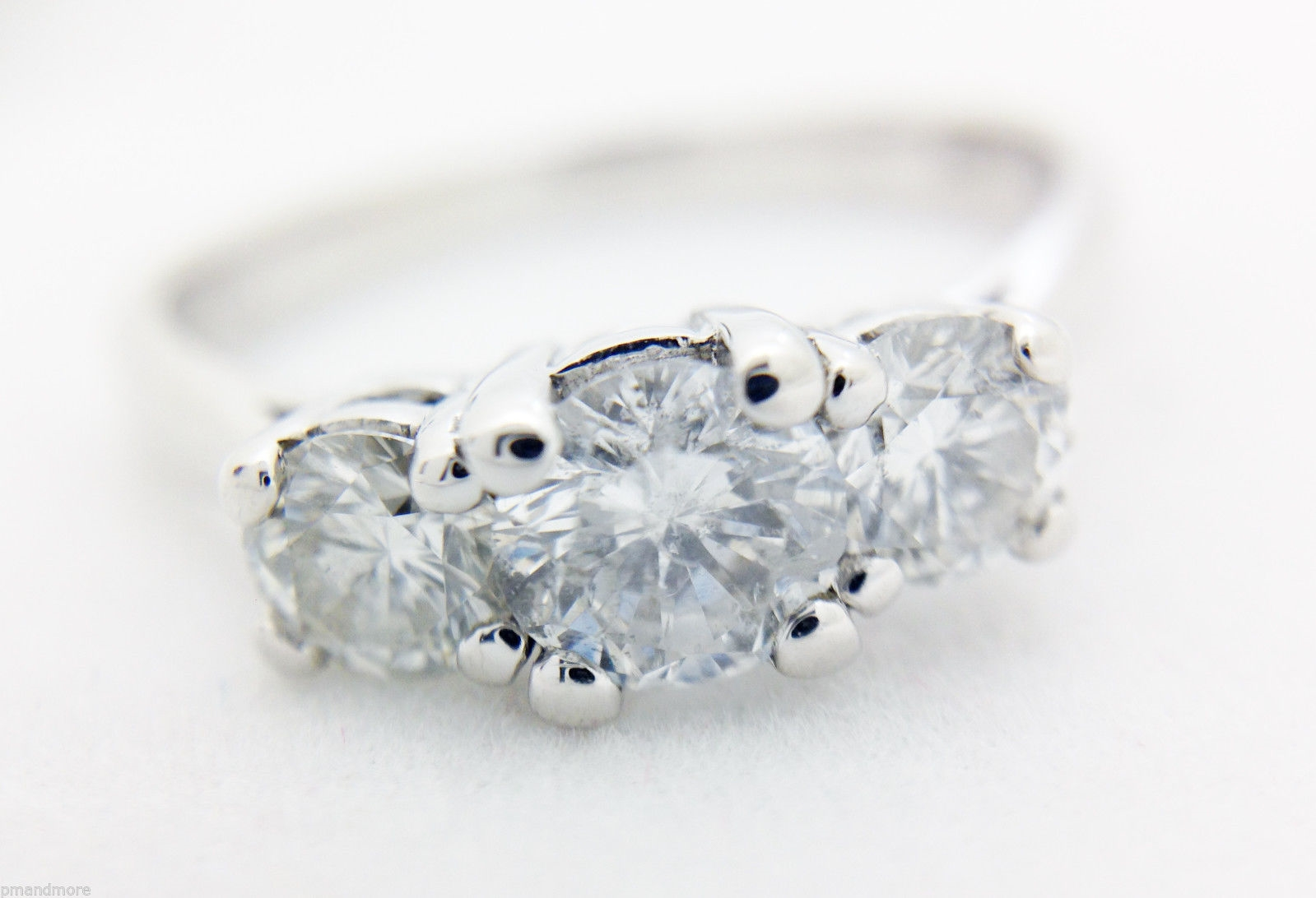 14k WHITE GOLD 3 THREE STONE DIAMOND TRILOGY ENGAGEMENT RING 1.01 TCW SIZE 7.5