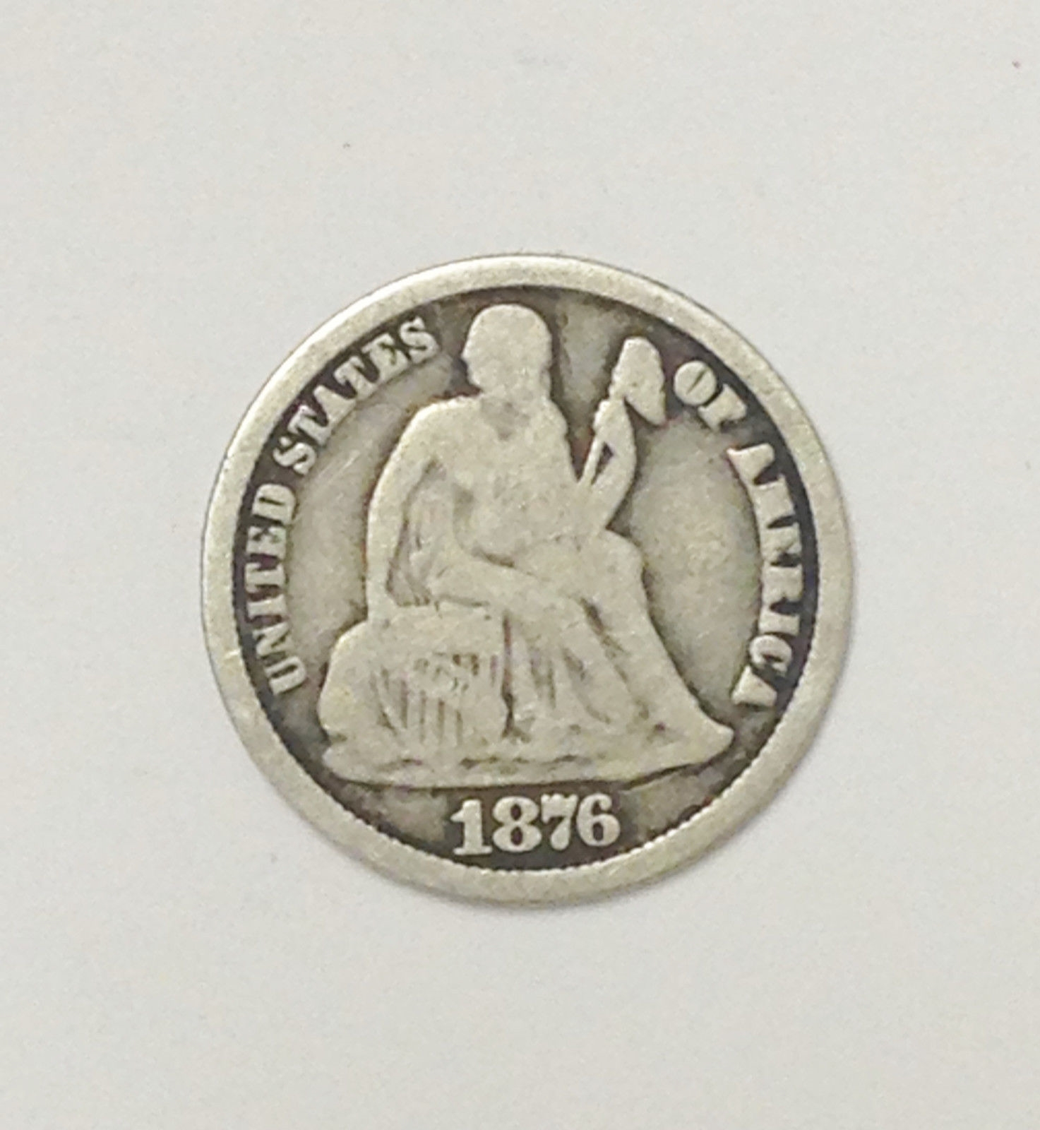 1876 CC DOUBLE DIE SEATED LIBERTY TEN 10 CENT COIN SILVER DIME CARSON CITY MINT