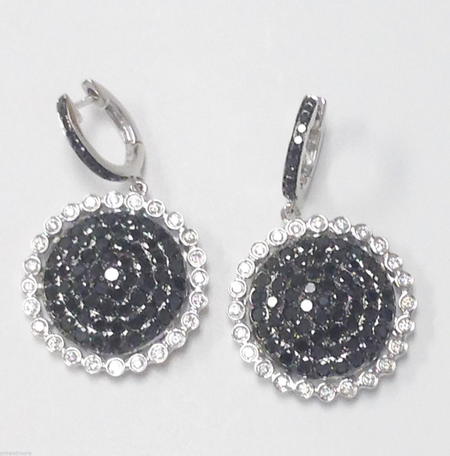 18K WHITE GOLD 3.07 TCW BLACK & WHITE DIAMOND EARRINGS - RETAIL $8750 - FREE S&H