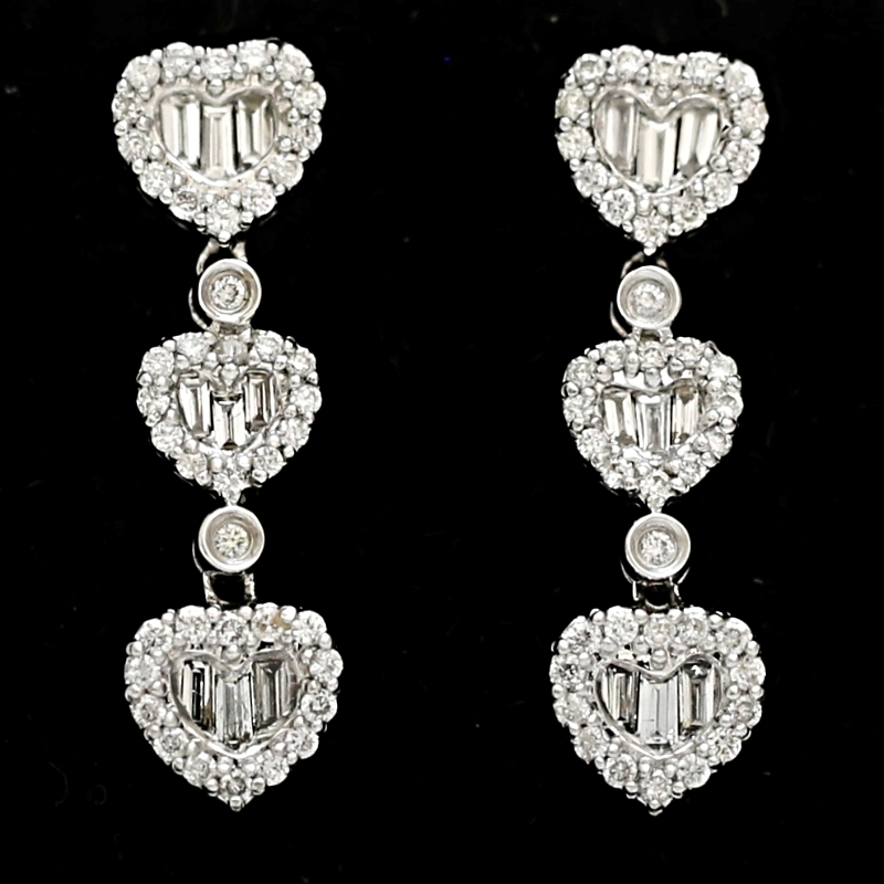 18K WHITE GOLD JOURNEY HEART ROUND & BAGUETTE DIAMOND EARRINGS $7,110!