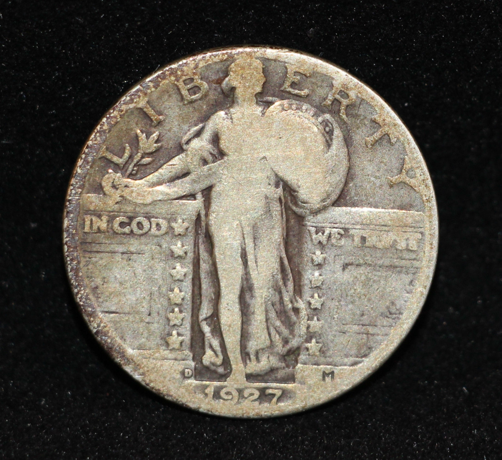 1927 D Standing Liberty Silver 25 cents Quarter Dollar L@K NICE DETAIL FREE S&H