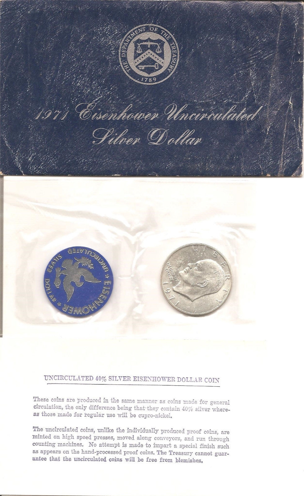 1971 40% Silver Eisenhower Ike Dollar Uncirculated With Mint Envelope and COA