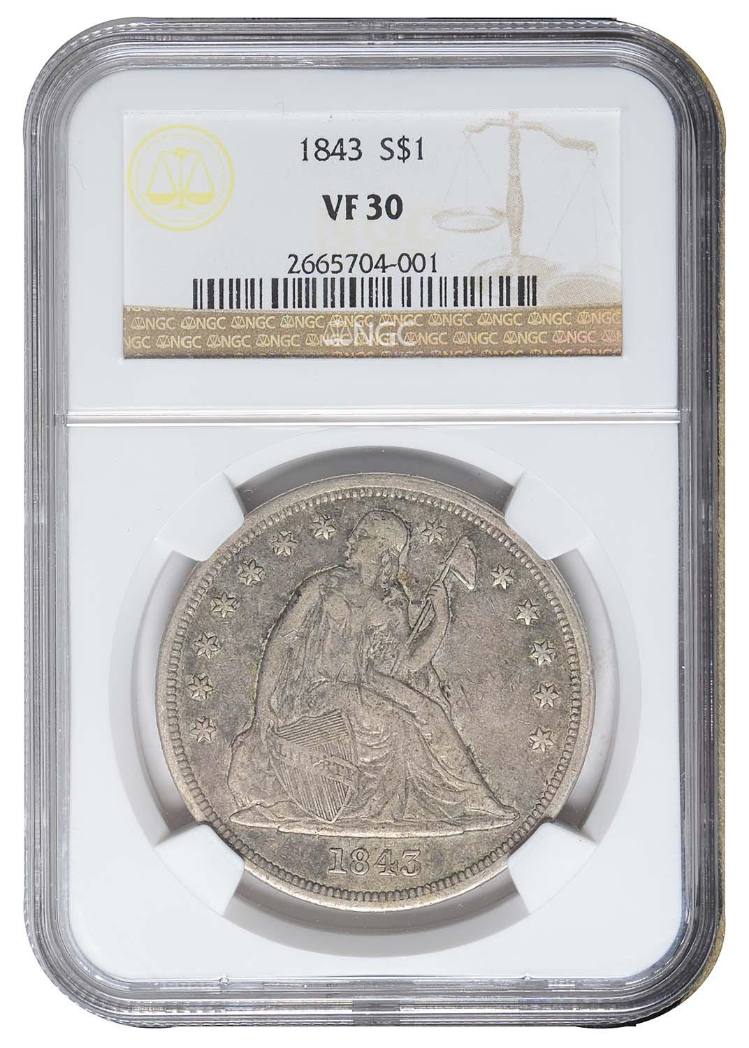 EARLY 1843 SEATED LIBERTY ONE 1 SILVER DOLLAR NGC VF 30 - ONLY 165,100 MINTED!