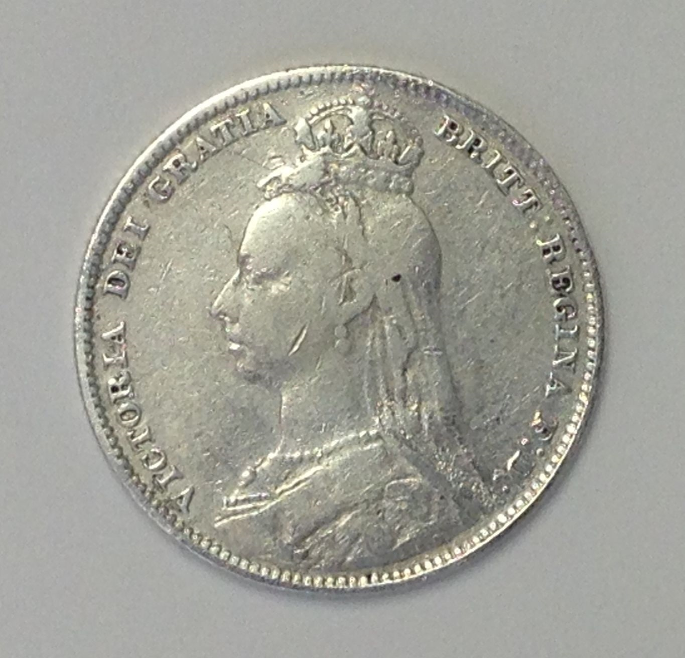 Great Britain / UK / England 1892 Victoria one 1 Shilling Silver Coin GRT DETAIL
