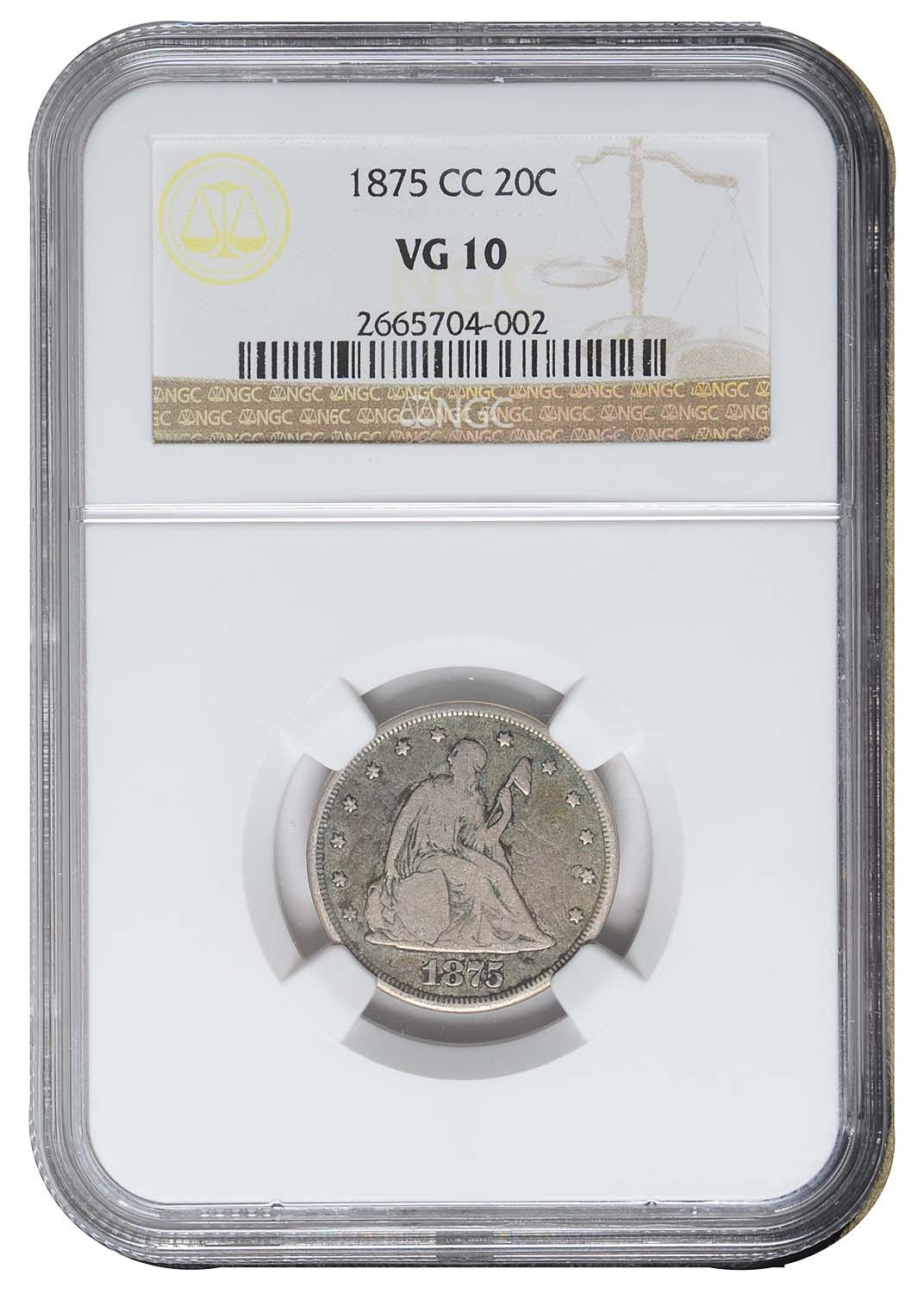 KEY-DATE 1875 CC CARSON CITY SEATED LIBERTY NGC VG10 20 CENTS SILVER COIN