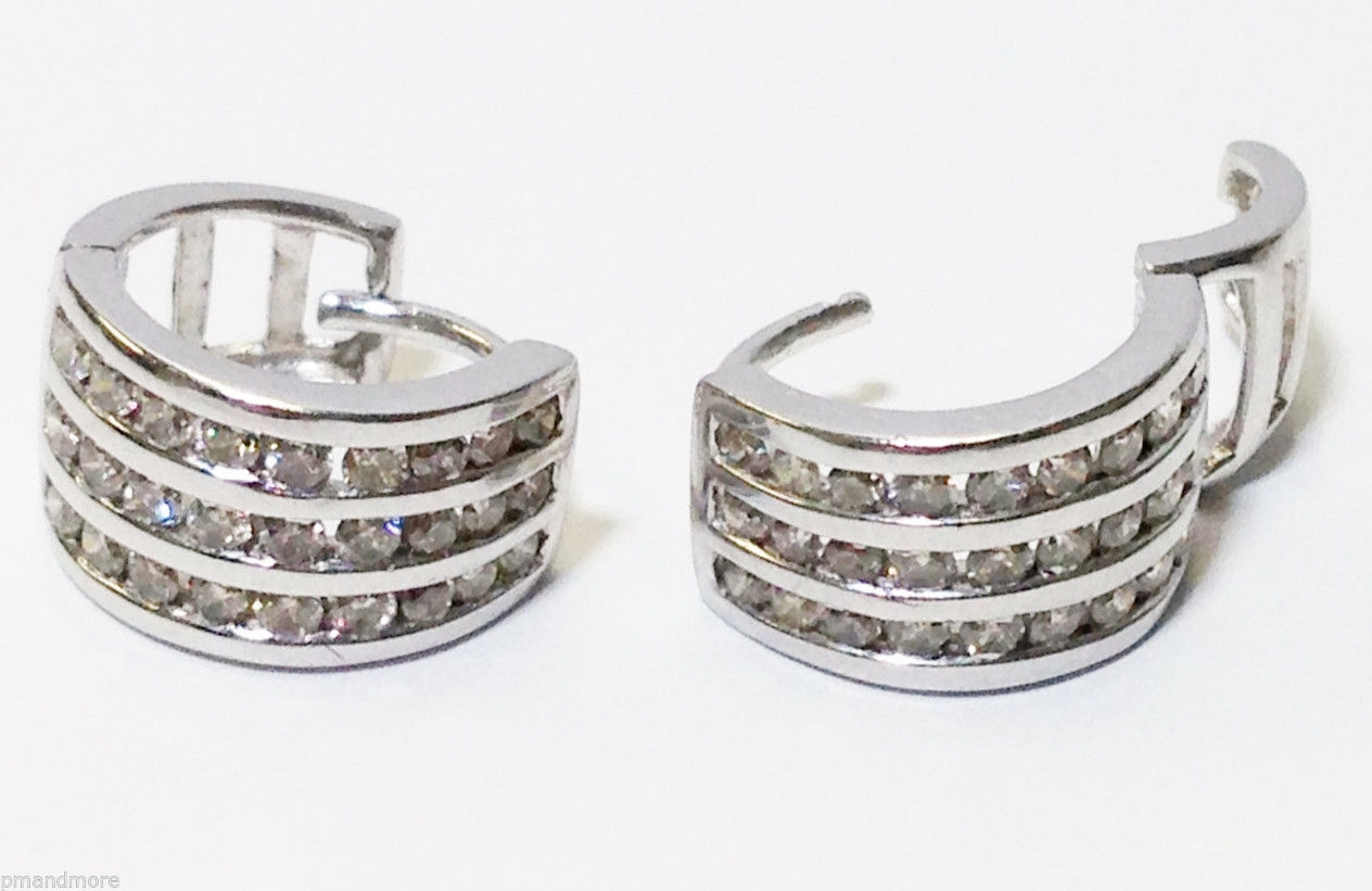 NEW - 14K WHITE GOLD 0.70 TCW HUGGIE DIAMOND EARRINGS - RETAIL $2395 - FREE S&H
