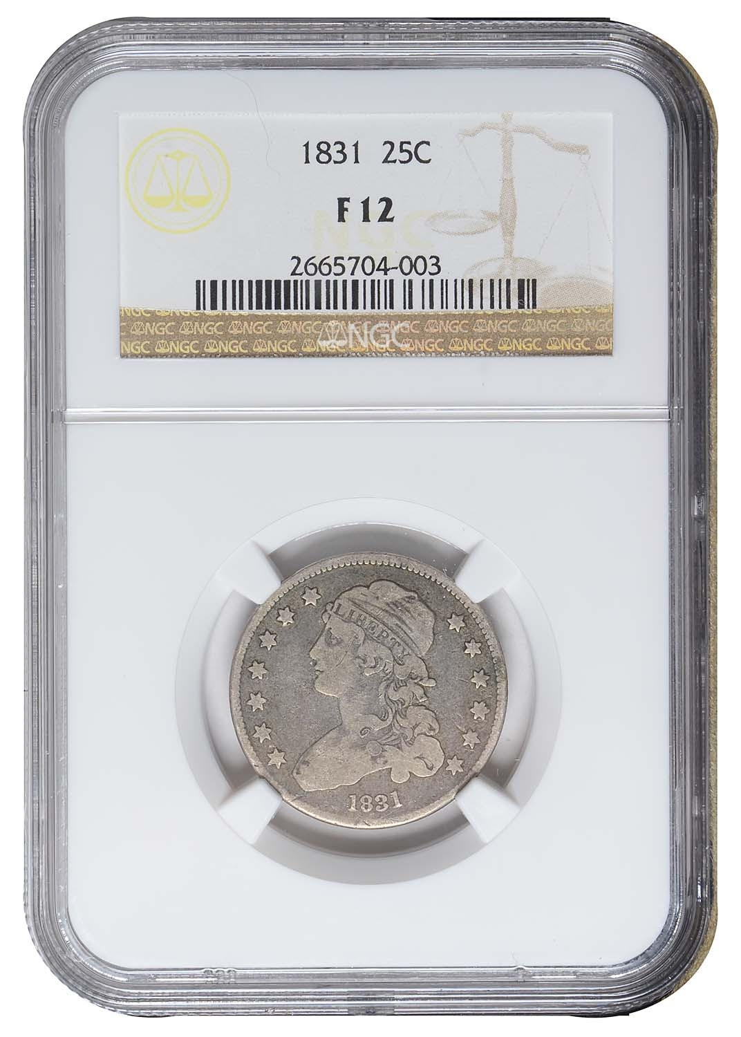NGC F12 1831 CAPPED BUST LIBERTY QUARTER 25 CENTS SILVER COIN ~ EARLY LOW MINT!
