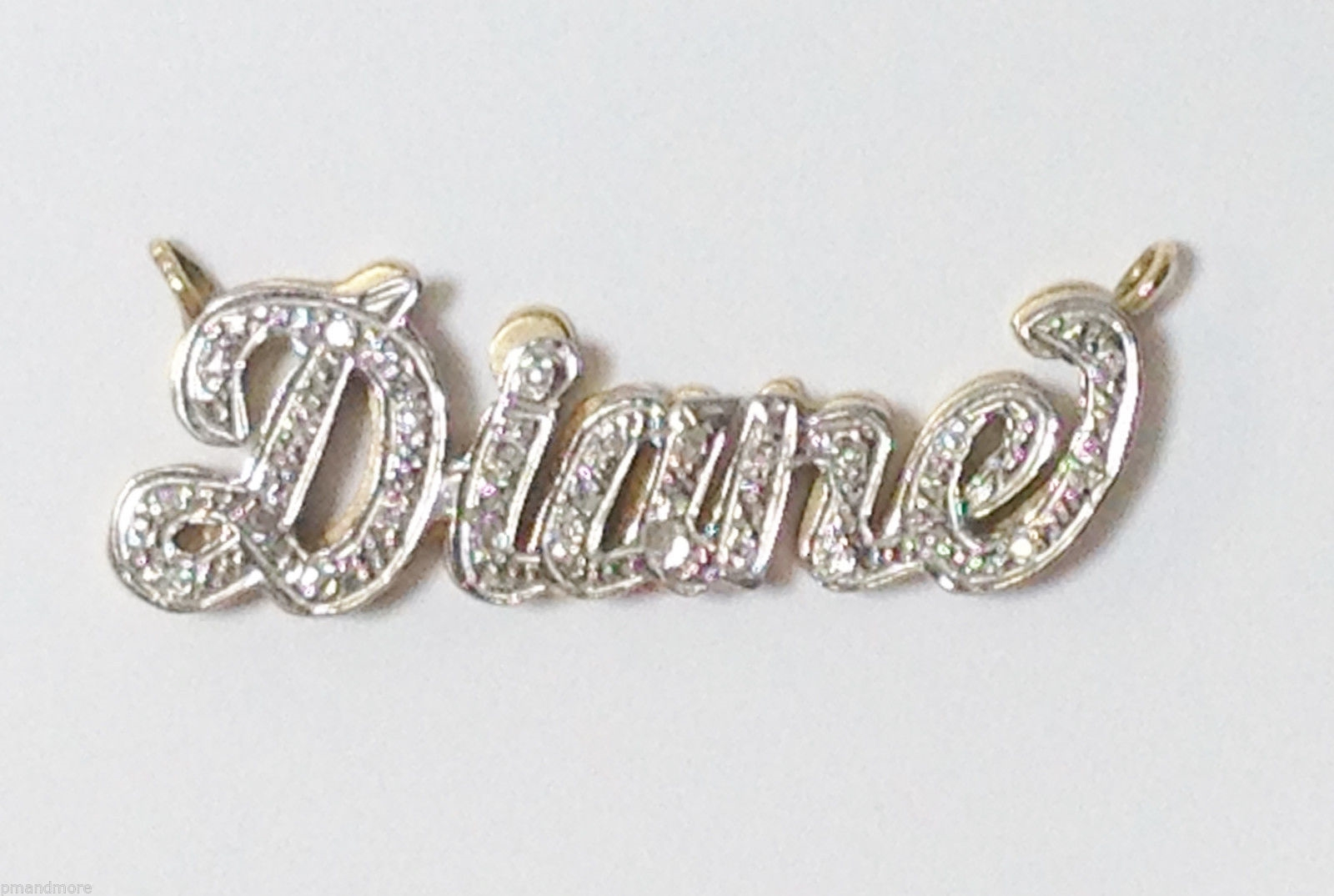 PERSONALIZED DIANE - 14K  SOLID YELLOW & WHITE GOLD & DIAMOND NAME PLATE PENDANT
