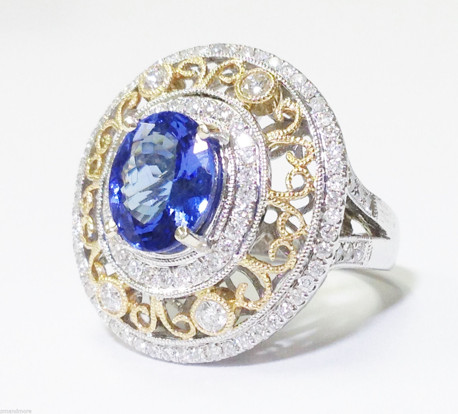 STUNNING 4.72 TCW VIOLET BLUE TANZANITE & DIAMOND 14K WHITE GOLD RING - $16,500!