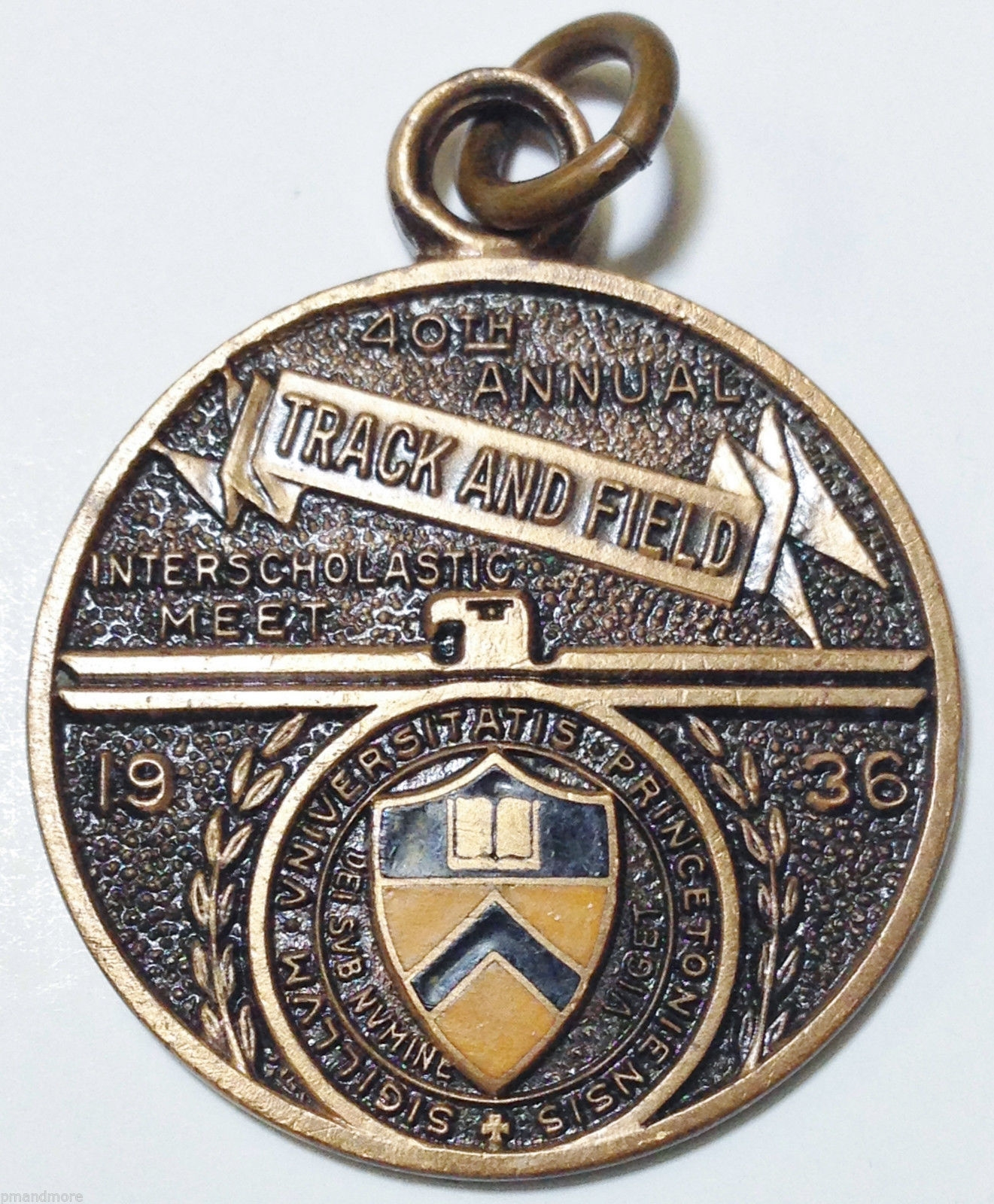 VERY RARE PRINCETON UNIVERSITY ATHLETICS 1930s TRACK & FIELD BRONZE MEDAL AWARD