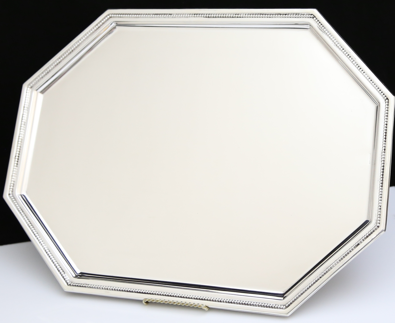 BEAUTIFUL SOLID 925 STERLING SILVER MODERN ELONGATED OCTAGON TRAY / PLATTER