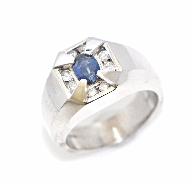 PLATINUM SAPPHIRE & DIAMOND MENS ART DECO RING