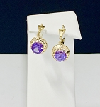 ART DECO 14K  YELLOW GOLD  AMETHYST ESTATE EARRINGS
