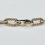 RARE TIFFANY 14K YELLOW GOLD OVAL  ROPE LINK BRACELET
