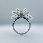 GORGEOUS 14K SOLID WHITE  GOLD PEARL DIAMONDS CLUSTER RING  (COPY)