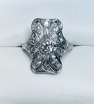 ANTIQUE ART DECO PLATINUM & EUROPEAN CUT  DIAMOND FILIGREE RING