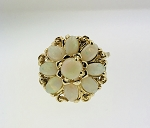 BEAUTIFUL  ANTIQUE 14k GOLD OPAL FLOWER RING -CLUSTER RING
