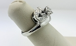 STUNNING VINTAGE ESTATE 14K SOLID WHITE GOLD DIAMOND CLUSTER RING