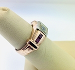 VINTAGE 14K ROSE GOLD & EUROPEAN CUT DIAMOND RUBY RING