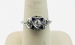 ANTIQUE ART DECO 14K WHITE  GOLD SAPPHIRE & DIAMOND MENS ART DECO RING
