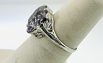 ANTIQUE ART DECO 14k WHITE GOLD & 16X11 AMETHYST CUT WHITE  FILIGREE RING