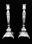 SOLID 925 STERLING SILVER PAIR CANDLESTICKS VENEZIA BY HADAD BROS