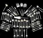 AEGEAN  WEAVE GOLD BY WALLACE  STERLING SILVER FLATWARE SET FOR 12