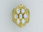 VINTAGE 14k YELLOW GOLD OPAL  FILIGREE CLUSTER RING 9.1 GRAMS
