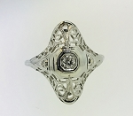 ANTIQUE ART DECO 18k WHITE GOLD & DIAMOND FILIGREE RING ~ESTATE