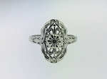 ANTIQUE ART DECO 10k WHITE GOLD & DIAMOND UNIQUE FILIGREE RING