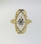 14K YELLOW GOLD ART DECO SAPPHIRES DIAMOND FILIGREE RING ~FAN STYLE