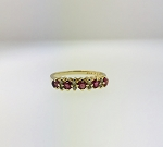 UNIQUE 14K YELLOW GOLD PINK SAPPHIRE & DIAMOND STONES BAND RING