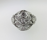 ANTIQUE ART DECO 14K GOLD & DIAMOND FLOWER FILIGREE RING