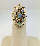 VINTAGE 14k YELLOW GOLD OPAL  FILIGREE CLUSTER RING ElLONGATED STYLE (COPY)