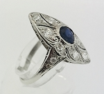 PLATINUM SAPPHIRE & DIAMOND MENS ART DECO RING FILIGREE STYLE