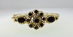 RED VINTAGE ESTATE 14K YELLOW GOLD GARNET BANGLE BRACELET ~ GORGEOUS