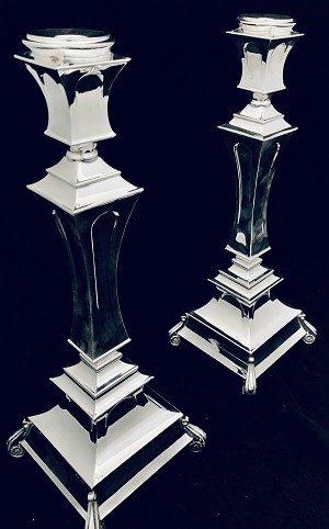 STUNNING SOLID 925 STERLING SILVER PAIR CANDLESTICKS BY HADAD ~ 14.5