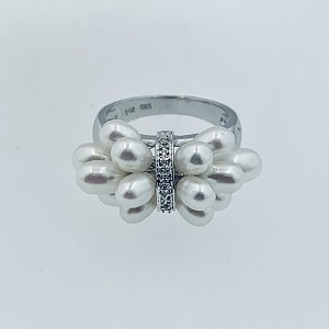 GORGEOUS 14K SOLID WHITE  GOLD PEARL DIAMONDS CLUSTER RING