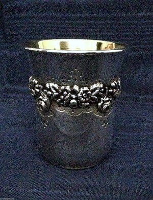 BEAUTIFUL FLORAL DESIGN STERLING SILVER  KIDDUSH CUP - MADE IN ISRAEL BY AMNON - (COPY)