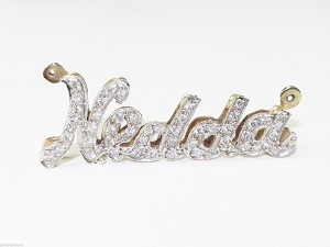 PERSONALIZED NEDDA - 14K  SOLID YELLOW & WHITE GOLD & DIAMOND NAME PLATE PENDANT